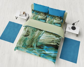 Blue and Brown Marble Duvet Cover or Comforter, modern marble, unique geological, warm colors, brown bedroom decor