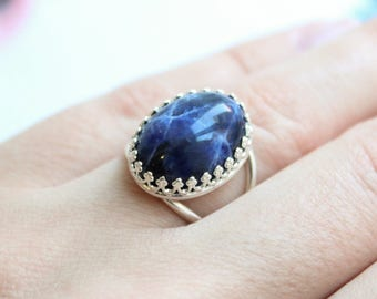 Cocktail Oval Sterling Silver Ring with Dark Blue Gemstone Sodalite ・Adjustable Size