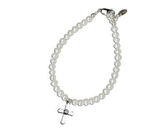 Sterling Silver First Communion Bracelet with Freshwater Pearls and Cross for First Communion Gift for Girls (FCB-Lacey)