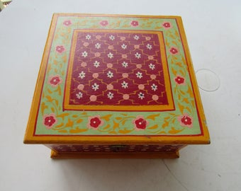 Green and Pink Hand Painted Wood Box
