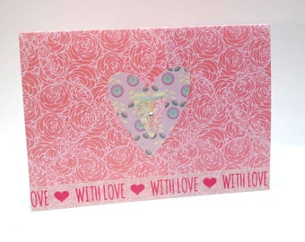 Retro pink  floral  heart  mothersday  card  with diamonte