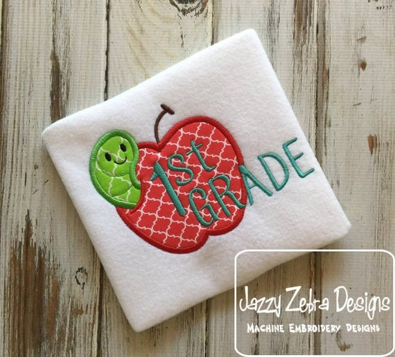1st grade apple with worm appliqué embroidery design - apple appliqué design - 1st grade appliqué design - first grade appliqué design