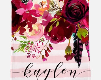 Monogrammed Blanket | Burgundy Floral | Personalized Blanket | Monogrammed Gift