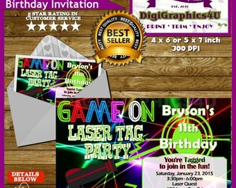 Laser Tag Invitation and/or Laser Tag Birthday Party Package for Kids - Personalized Printable File Plus Free Thank You Card