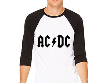 AC/DC Inspired Poly-Cotton 3/4 Sleeve Raglan Shirt 3200