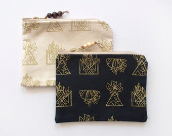 Potted Plant Zipper Pouch, Gold Botanical Pouch, Gold Ink Zipper Pouch