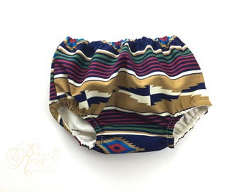 Diaper Cover - Bloomers - Photography Prop - Southwestern Native Nappy Cover - Unisex Underwear - Tribal Print Kids Clothes - Navajo Print