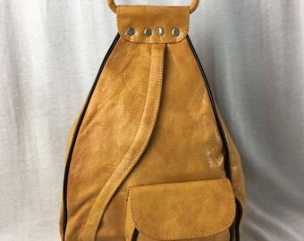 Handcrafted Leather Backpack Purse Yellow