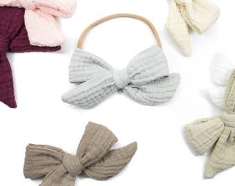 Gauze Bow / Hand-Tied Bubble Gauze Bow / Nylon / One size fits most / stretchy headband  / One Size Fits All Headband /