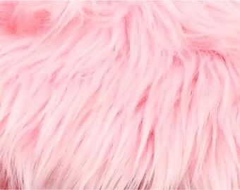 Baby Pink Luxury Shag Faux Fur Fabric