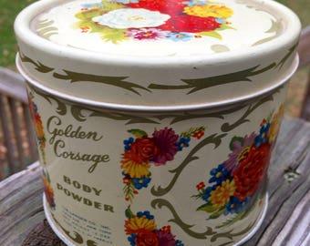 SALE Landers Body Powder Golden Corsage Gardenia Fragrance Powder Landers Still Sealed 1950s