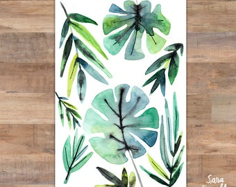 Watercolor Painting, Palm Leaves, Palm Leaf, Tropical Decor, Tropical Wall Art, Green, Botanical, Palm Art