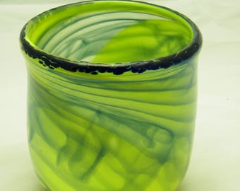 SOLD    Yellow and Blue Tall Bowl Handblown Glass