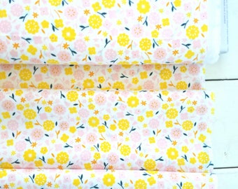 Stay Gold - Primrose (Pink/Yellow Cotton)- Organic Fabric - Aneela Hoey - Cloud 9