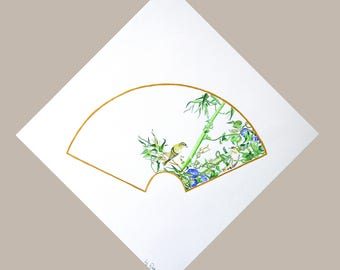 Painting Two Birds in Bamboo and Morning Glory Vine