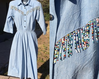 Size 14 Beaded Western Nineties Day Dress Belted Colorful Beads Cotton Denim Look Padded Shoulders XL 1990s Nashville Country