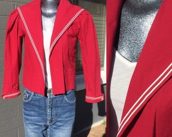 Laura Ashley Nautical Size 6 Sailor Jacket Red with White details Made in Dublin Eighties Cotton