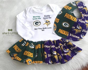 Custom House Divided Football Bodysuit Dress and Bib ( Packers- Vikings) But They Both Love Me 2pc Set