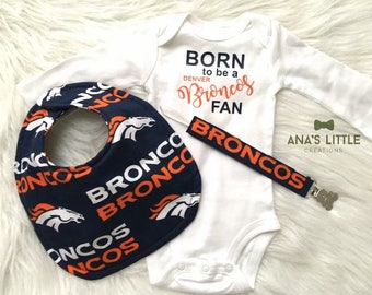 Broncos Baby 3pc Set baby gift, Baby Bib, Paci clip and Bodysuit 3pc set, Denver Broncos Baby Set