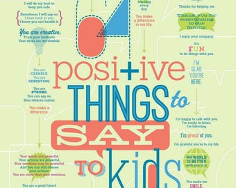 64 Positive Things to Say to Kids Print 18x24""