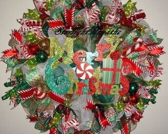 Merry Christmas Mesh Wreath, Wreath For Christmas, Christmas Decoration, Holiday Wreath