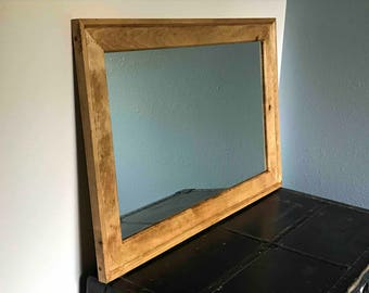 Large Knotty Pine Mirror Frame - Hand Distressed for Aged Look