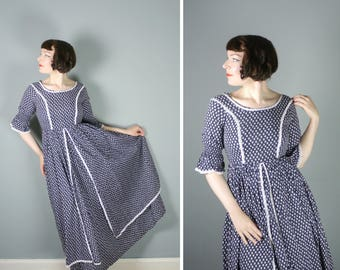 70s LAURA ASHLEY dress in black and white DITSY floral print - romantic Made in Wales 1970s full skirt maxi dress - S