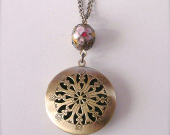 Openwork Round Locket Necklace, Filigree Locket Necklace, Photo Locket, Vintage Millefiori Bead Locket, Gift For Her, Keepsake Necklace