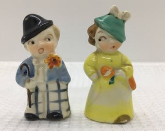 Vintage Boy Girl Salt Pepper Shakers made in Japan