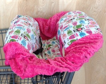 Shopping Cart Cover - Fruity Owls/ Hot Pink