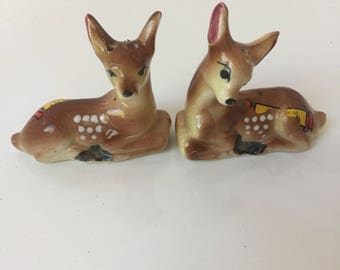 Vintage Deer Salt and Pepper Shakers Souvenir of Ludington MI