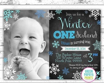 25% OFF Boy's Winter Onederland Invitation - Digital File - Printable - Blue and Teal - Snowflake - Boy's First Birthday Invitation