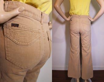 Vintage 70s LEVIS Embroidered Pocket Tan Denim Bell Bottom Jeans Boho Hippie Pants XS