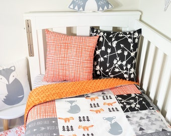 Patchwork quilt nursery set items - Black, grey and orange geometric, foxes, woodland, arrows, triangles