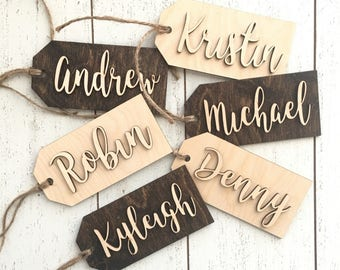 Personalized bridesmaid name tags - Calligraphy Gift Tag - Wedding party gift tag - Welcome bag tag - Bridal shower party favor tag