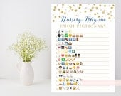 Nursery Rhyme Quiz, Emoji Pictionary printable game, Gold baby shower game, gold confetti, baby book downloadable, INSTANT DOWNLOAD 008