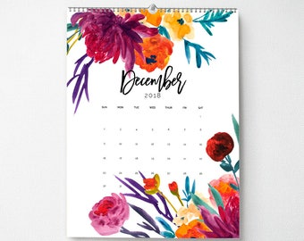 2018 Monthly Wall Calendar, 11x14, Wall Calendar, Watercolor Flower Gifts for Her  (cal0004)