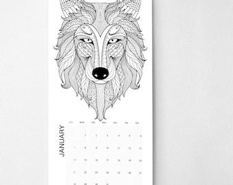 "2018 Adult Coloring Book Calendar, 9.5""x17.25"", Wall Calendar, Coloring Book Gifts  (cal0060)"