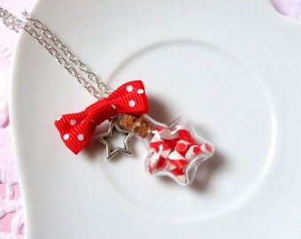 Small vial star filled with barley sugar necklace