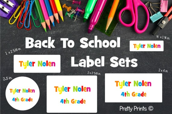 School Labels, Back to School Label Set, Personalized Stickers, Personalized Labels, School Supply Labels - Name Labels