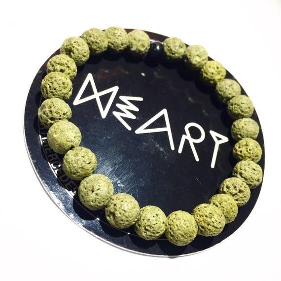 Lime Green Raw Lava Stone Oil Diffuser Beaded Charm Bracelet, Aroma Therapy, Custom, Mala, Yoga, Meditation, Unisex, Men, Women, olive