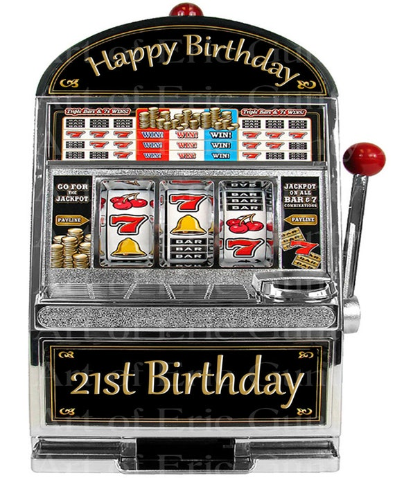 Las Vegas Happy 21st Birthday Slot Machine - Edible Cake and Cupcake Topper For Birthday's and Parties! - D22763
