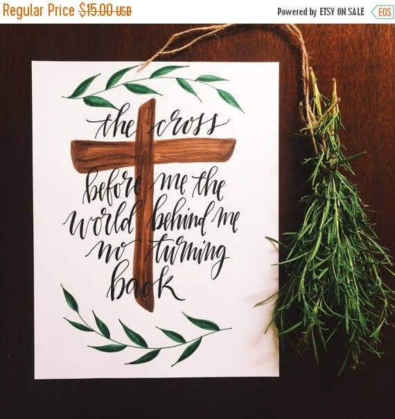 ON SALE I have decided to follow Jesus, Christian home decor, worship leader gift, Hillsong, hymn art, the cross before me, Christian gift