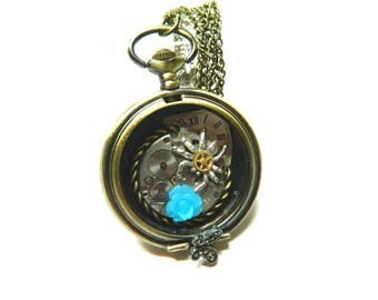 Steampunk jewelry necklace, antique bronze colored In the web of time, steam punk spider, pocket watch casing, unique birthday surprise gift