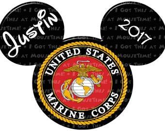 IRON-ON US Marine Corps Logo Ears! - Mouse Ears Tshirt Transfer