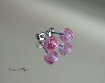 Glass Stud Earrings * art * shades-pink murano glass