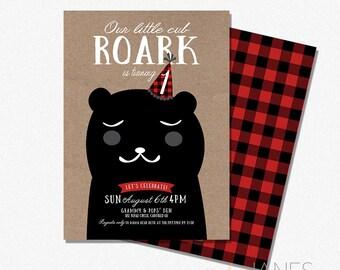 "Little Cub Birthday Invitation  | Digital Printable Bear Invitation | 1st Birthday Boy Bear Cub Invitation - 5X7 with *bonus reverse side"""