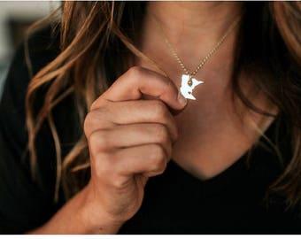Minnesota Necklace with Agate Bead - minnesota necklace duluth necklace state necklace agate bead necklace gold silver minnesota