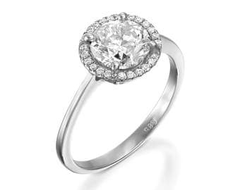 ON SALE!!!1.67 ct Diamond Engagement Ring-White Gold Ring-Engagement Ring-Promise ring-Halo diamond engagement ring- Anniversary Gift