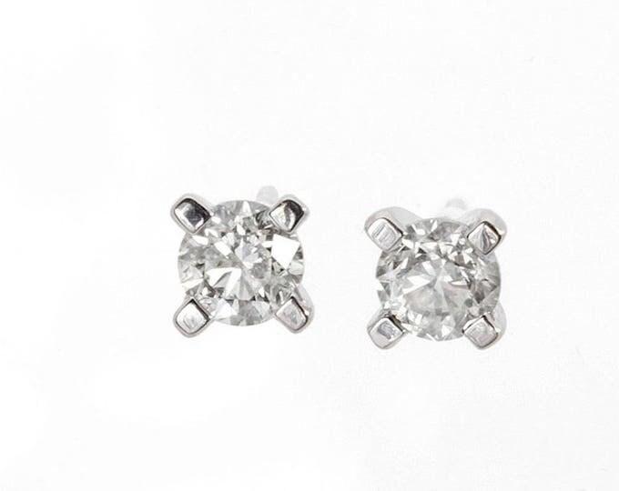 2 carat Diamond Gold Earrings-14K White Gold Earrings-Stud Earrings-Unique diamond earrings-Anniversary gift-Graduation gift-For her